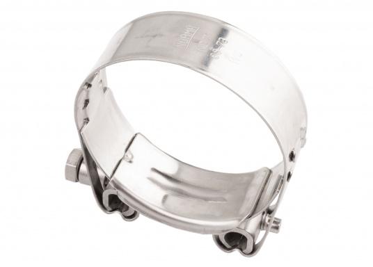Schwere Ausführung– diese extrem stabilen Schlauchschellen bestehen komplett aus Niro W 1.4301. Die Schellen sind speziell geeignet für Abgas-, Spiral- und Fäkalienschläuche. Lieferbar in verschiedenen Größen.  (Bild 19 von 19)
