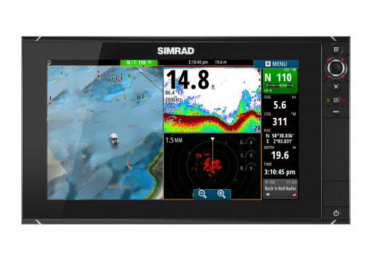The NSS16 evo2 from SIMRAD combines an easy-to-use, 7-inch chartplotter/multifunction display with built-in GPS positioning, StructureScan® HD, CHIRP-enabled broadband sonar, and powerful expansion capabilities. Standalone in a centre console or fully integrated in a modern glass bridge, the widescreen NSS16 evo2 is well suited to sportfishing and power boats. (Imagen 2 of 10)
