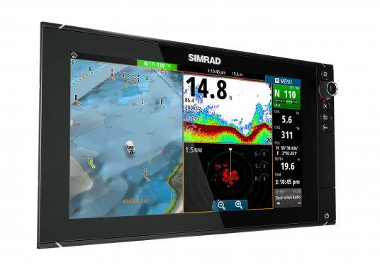 The NSS16 evo2 from SIMRAD combines an easy-to-use, 7-inch chartplotter/multifunction display with built-in GPS positioning, StructureScan® HD, CHIRP-enabled broadband sonar, and powerful expansion capabilities. Standalone in a centre console or fully integrated in a modern glass bridge, the widescreen NSS16 evo2 is well suited to sportfishing and power boats. (Image 4 of 10)