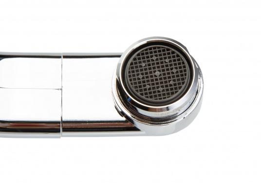 Kompakter und hochwertig aussehender Wasserhahn von CAN. Der Wasserhahn besteht aus widerstandsfähigem Kunststoff, kann eingeklappt werden und überzeugt mit mit seinem stilvollen Chrome-Look. Geeignet für Druckwasserpumpen. (Bild 4 von 4)