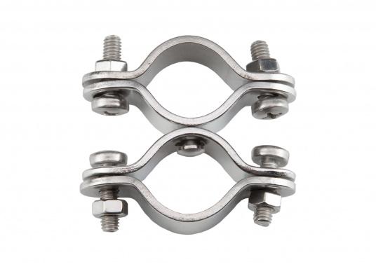 Edelstahl-Doppelschelle für Rohre mit einem Durchmesser von 22 - 30 mm. Die beiden Schellen sind beweglich. Material: V2A. (Bild 3 von 4)