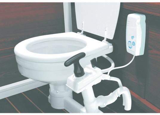 SeaSmart is an automated, intelligent disinfecting system for manual and electric onboard toilets that run on seawater. It keeps the entire toilet system, including the hose, hygienic and free from odour, giving germs no chance. It even works while you are not onboard. (Afbeelding 5 of 5)