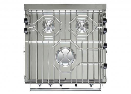 Robust und qualitativ hochwertig! Der FORCE10 Gaskocher mit Backofen besteht aus Edelstahl und verfügt über drei Brenner, einen thermostatisch gesteuerten Ofen mit Grillfunktion, eine elektrische Fremdzündung und eine wegschiebbare Ofentür mit Sichtfenster. (Bild 3 von 7)