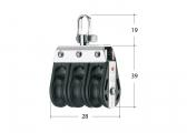 S Block with Swivel / 3-sheave