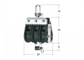 S Block with Swivel and Becket / 8 mm / needle bearing