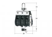 S-Block Bozzello con grillo girevole e arricavo / 8 mm / Cuscinetto ad aghi