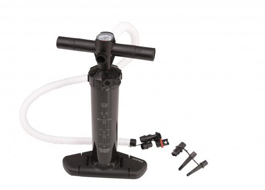 High pressure dual-action pump for almost all-purpose use! With pumping capacity of up to 2 bar, both fenders and inflatable boats and SUP's can be inflated. Especially suitable for Seatec fenders. Made of black plastic and equipped with a pressure gauge.