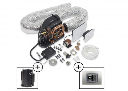 Système d'air conditionné complet, compact et livré prêt à l'installation. Il comprend une isolasion acoustique et un pupitre de contrôle à écran tactile.