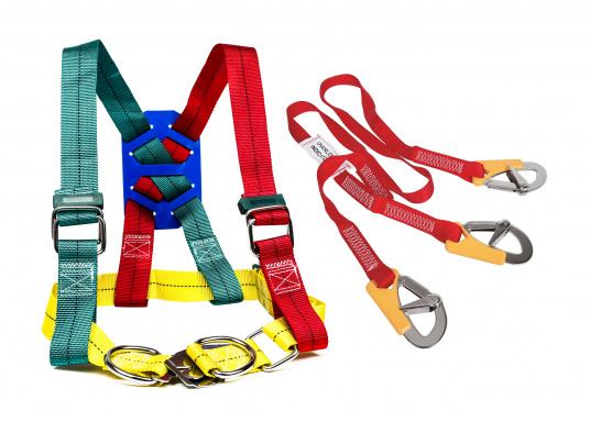 Getesteter Sicherheitsgurt in besonders kräftiger Ausführung (bis 1000 kg Belastung).Lieferung inklusive 3-Punkt Lifeline.