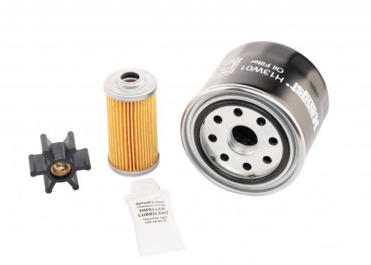 Das Motoren - Ersatzteil Kit sollte auf keinem Boot fehlen! Es besteht aus Ölfilter, Kraftstofffilter und Impeller. Die Service-Teile können bei Bedarf vom Bootseigentümer selber eingebaut werden. (Bild 3 von 3)