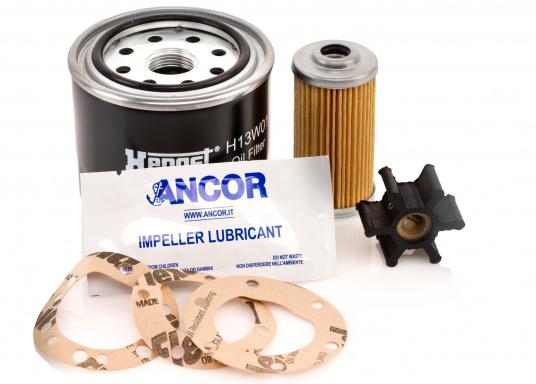 Das Motoren - Ersatzteil Kit sollte auf keinem Boot fehlen! Es besteht aus Ölfilter, Kraftstofffilter und Impeller. Die Service-Teile können bei Bedarf vom Bootseigentümer selber eingebaut werden.