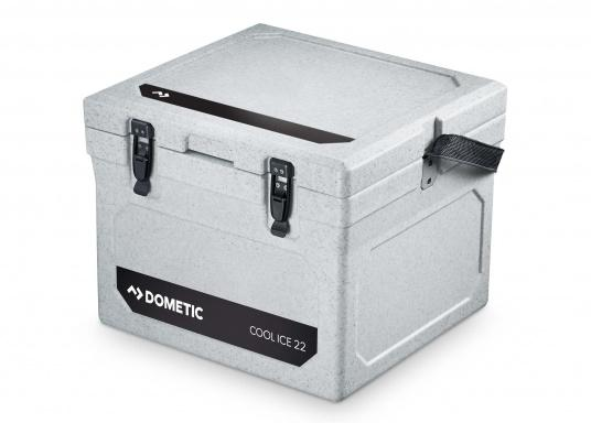 The COOL-ICE WCI 22 from Dometic is the perfect companion in all situations when a power source is missing. Keeps ice frozen for several days. The cooler is made of a thick foam insulation and features a unique labyrinth seal design. Colour: grey. (Image 2 of 4)