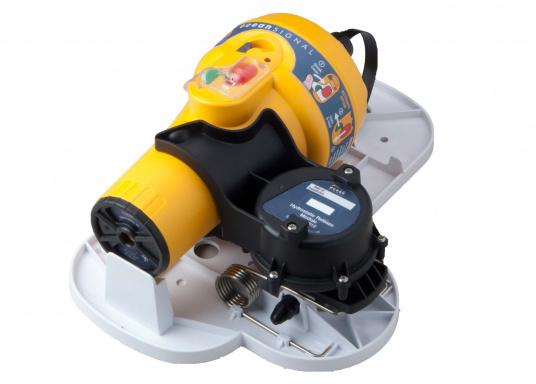 Passende FloatFree Halterung ARH100 für die EPIRB E100G von ocean SIGNAL. Die FloatFree Halterung sorgt dafür, dass die EPIRB bei ausreichendem Wasserdruck automatisch ausgelöst wird.