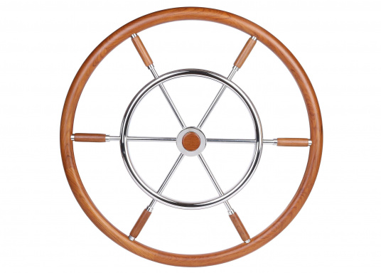 Very nicely finished steering wheels for yachts and sailing boats. The double hand-grab consists of high quality teak and stainless steel. CE-approved and RINA, EN and ISO certified. Diameter: 100 cm. (Image 1 of 4)
