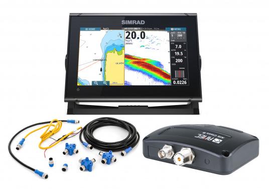 Das Simrad GO9 XSE Kartenplotter-Navigationsdisplay eignet sich optimal zur Funktionserweiterung auf Sportbooten, Kreuzfahrtschiffen und in kleineren Mittelkonsolen mit Plug-and-Play-Unterstützung für Simrad Broadband Radar™ und Halo™ Pulskompressions-Radarsystemen. Lieferung inklusive AIS-Transponder CAMINO-108 inkl. GPS Patch-Antenne und NMEA2000 Starter Kit.