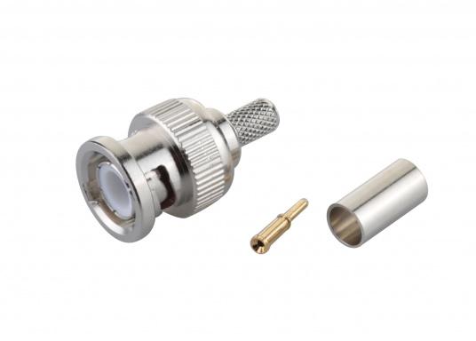 BNC Crimp-Stecker für 6 mm RG58 Kabel, 50 Ohm.