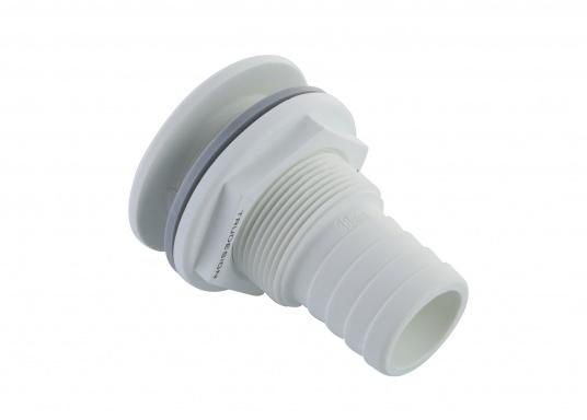 Borddurchführungen aus glasfaserverstärktem Kunststoff, für den Unterwasserbereich, mit Schlauchanschluss. IMCI zertifiziert. Lieferbar in weiß und jeweils in verschiedenen Größen.