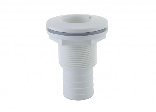 Borddurchführungen aus glasfaserverstärktem Kunststoff, für den Unterwasserbereich, mit Schlauchanschluss. IMCI zertifiziert. Lieferbar in weiß und jeweils in verschiedenen Größen.  (Bild 2 von 3)