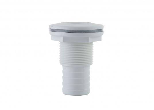 Borddurchführungen aus glasfaserverstärktem Kunststoff, für den Unterwasserbereich, mit Schlauchanschluss. IMCI zertifiziert. Lieferbar in weiß und jeweils in verschiedenen Größen.  (Bild 3 von 3)