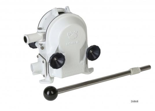 Eine der besten Membran-Handpumpen! Bei geringem Kraftaufwand liefert die Pumpe je nach Schlagzahl eine Pumpkapazität von 71 - 111 Liter in der Minute.