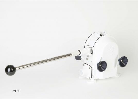 Eine der besten Membran-Handpumpen! Bei geringem Kraftaufwand liefert die Pumpe je nach Schlagzahl eine Pumpkapazität von 71 - 111 Liter in der Minute.  (Bild 3 von 3)