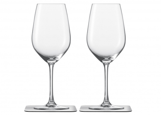 These elegant magnetic crystal glass wine glasses with built-in magnets in the bottom are secure even at high seas! The glasses are made of crystal glass and are supplied as a set of 2 including metallic gel coasters. Capacity: 250 ml. (Afbeelding 2 of 14)