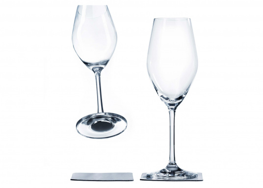 These elegant magnetic crystal glass champagne glasses with built-in magnets in the bottom are secure even at high seas! The glasses are made of crystal glass and are supplied as a set of 2 including metallic gel coasters. Capacity: 250 ml