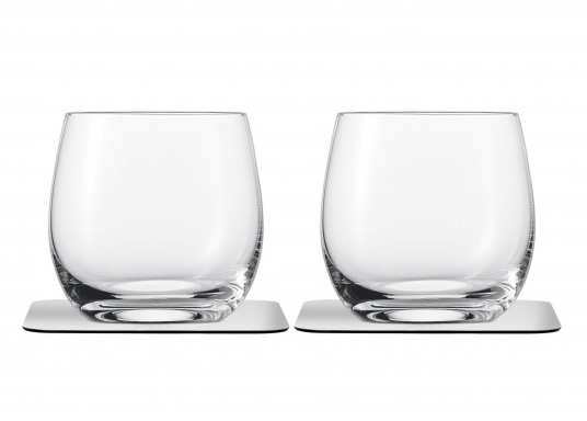 These elegant magnetic crystal glass whisky glasses with built-in magnets in the bottom are secure even at high seas! The glasses are made of crystal glass and are supplied as a set of 2 including metallic gel coasters. Capacity: 250 ml (Afbeelding 2 of 7)