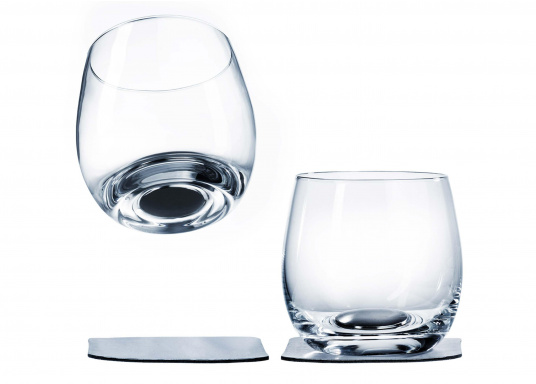 These elegant magnetic crystal glass whisky glasses with built-in magnets in the bottom are secure even at high seas! The glasses are made of crystal glass and are supplied as a set of 2 including metallic gel coasters. Capacity: 250 ml