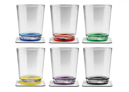 These elegant magnetic cups with built-in magnets in the bottom are secure even at high seas! The cups are made of high-quality plastic and are supplied as a set of 6 including metalic gel coasters. Capacity: 250 ml
