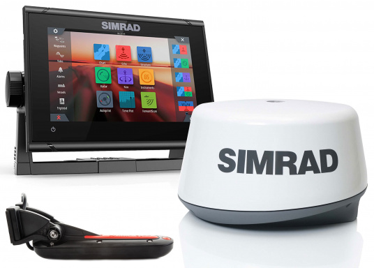 """Das neue 7"""" Kartenplotter-Navigationsdisplay GO7 XSR von Simrad bietet Ihnen eine Reihe von neuen Technologien. Durch einen integrierten GPS-Empfänger, drahtloser Konnektivität über WIFi, eine Vielzahl an Anschlussmöglichkeiten über das NMEA2000 Netzwerksystem und der Plug-and-Play Radarkompatibilität wird das Navigieren auch bei schlechten Bedingungen leicht gemacht. Lieferung inklusive TotalScan-Geber und 3G Radarantenne."""