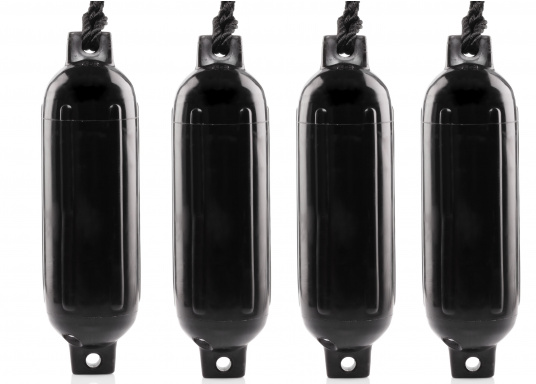 The G-series fenders are moulded from PVC in one piece. A pressure of 0.15 bar at approx. 20 °C is required for inflation. Supplied in a set of 4 including matching fender lines. (Image 2 of 2)