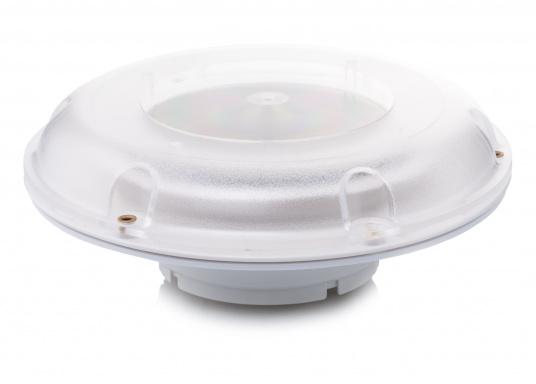 Ventilatore solare molto stabile e piatto, con coperchio in plastica trasparente. Con interruttore integrato per l'accensione e lo spegnimento.