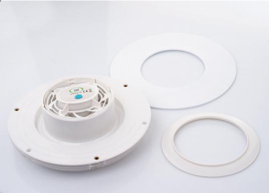 Ventilatore solare molto stabile e piatto, con coperchio in plastica trasparente. Con interruttore integrato per l'accensione e lo spegnimento. (Immagine 5 di 5)
