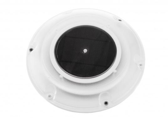 Ventilatore solare molto stabile e piatto, con coperchio in plastica trasparente. Con interruttore integrato per l'accensione e lo spegnimento. (Immagine 2 di 5)
