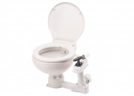 Die manuelle Toilette AquaT von Johnson kann sowohl über, als auch unterhalb der Wasserlinie installiert werden. Flexible Lochmuster sorgen für einen schnellen und einfachen Austausch mit den meist verbreiteten Toiletten auf dem Markt. Geeignet für den Einsatz auf dem Meer, See und Kanal.Ausführung: Kompakt. (Bild 2 von 5)