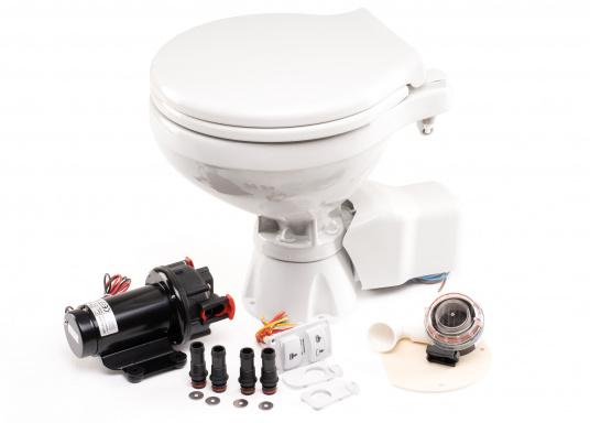 Die elektrische Toilette AquaT Silent von Johnson überzeugt mit einem leisen Spül- und Entsorgungsbetrieb und kann sowohl über, als auch unterhalb der Wasserlinie installiert werden. Geeignet für den Einsatz auf dem Meer, See und Kanal.Lieferung inklusive Bedienpaneel. Ausführung: Kompakt. Spannung: 12 V. (Bild 3 von 3)
