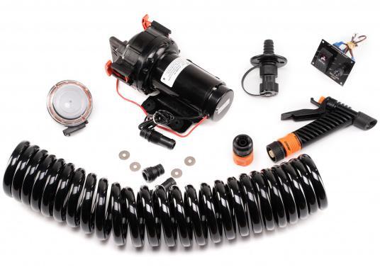 Die WD 5.2 ist eine Membranpumpen mit 5 Kammer-Verdrängungssystem.Diese Pumpe ist die bestens als Deckwasch- und Reinigungsgerät geeignet, da sie einen Druck von 5 bar erzeugt und somit eine schnelle und einfache Reinigung gewährleistet. Spannung: 12 V.