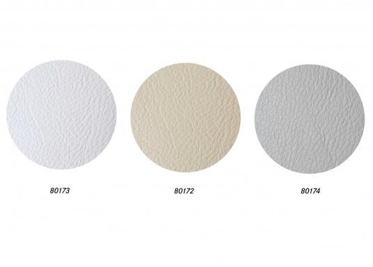 Hochwertig verarbeiteter und strapazierfähiger Bezugsstoff mit geprägter Ledernarbung, ideal als Polsterbezug für Möbel geeignet.Lieferung im Anschnitt zu mind. 1 m. Preis pro Meter. Farbe: weiß.  (Bild 4 von 4)