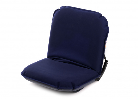 Sit comfortably on board. The Comfort Seat features 40 comforatble sitting positions: from upright to relaxed lying. Both the compact design and the attached Velcro straps make this seat cushion perfect for attaching to a dinghy bench. Available in dark blue and grey.