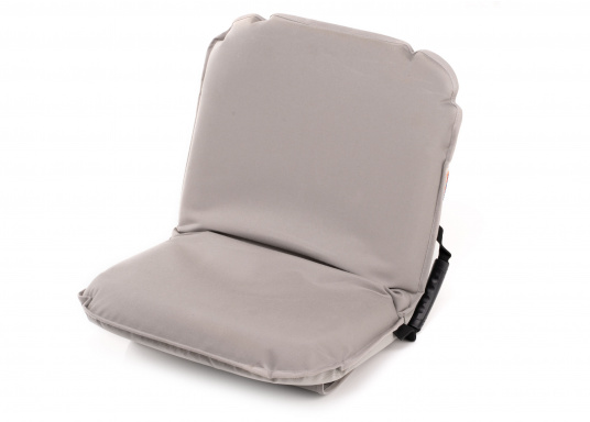 Sit comfortably on board. The Comfort Seat features 40 comforatble sitting positions: from upright to relaxed lying. Both the compact design and the attached Velcro straps make this seat cushion the perfect for attaching to a dinghy bench. Available in dark blue and grey.
