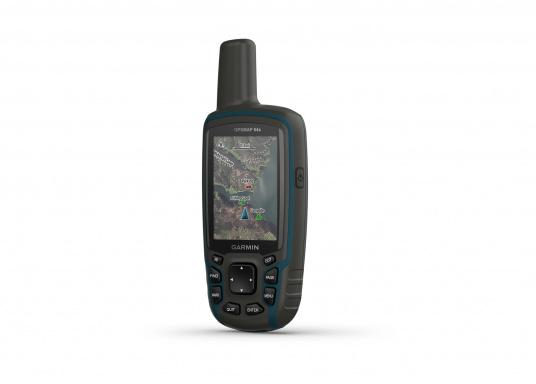 The GPSMAP® 64x handheld navigation device features a 2.6-inch display that's easy to read even in sunlight. A high-sensitivity GPS and GLONASS receiver combined with a Quad Helix antenna ensure reliable and excellent reception. (Afbeelding 4 of 7)