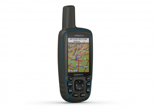 The GPSMAP® 64x handheld navigation device features a 2.6-inch display that's easy to read even in sunlight. A high-sensitivity GPS and GLONASS receiver combined with a Quad Helix antenna ensure reliable and excellent reception.