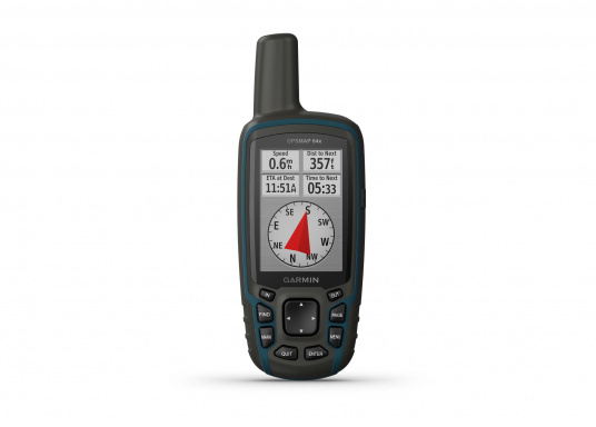 The GPSMAP® 64x handheld navigation device features a 2.6-inch display that's easy to read even in sunlight. A high-sensitivity GPS and GLONASS receiver combined with a Quad Helix antenna ensure reliable and excellent reception. (Imagen 3 of 7)
