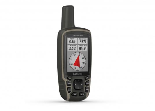 Das GPSMAP® 64sx-Navigationshandgerät ist mit einem 2,6-Zoll-Display ausgestattet, das auch bei Sonneneinstrahlung sehr gut lesbar ist. Ein hochempfindlicher GPS-, GLONASS- und GALILEO-Empfänger in Kombination mit einer Quad-Helix-Antenne gewährleisten einen zuverlässigen und ausgezeichneten Empfang. Integrierter 3-Achsen-Kompass, barometrischer Höhenmesser sowie drahtloste Konnektivität. (Bild 3 von 8)