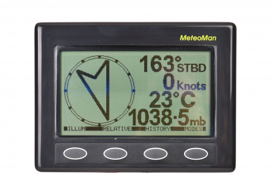 The MeteoMan provides accurate, high-resolution barograph recording in excess of five days data on barometric pressure and wind speed. It is easy to use, reliable, rugged and draws very little power from the boat's battery. Includes mast unit. (Image 2 of 9)