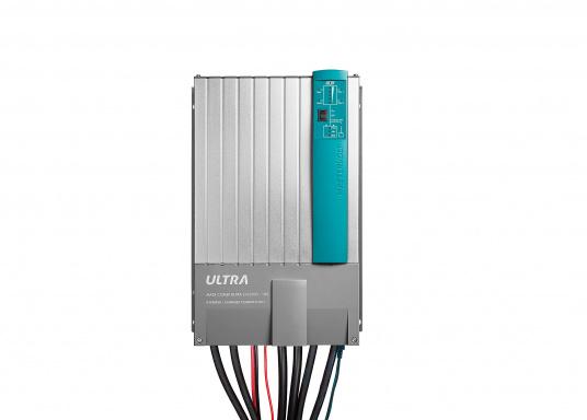 Der MASS COMBI ULTRA fasst die fortschrittlichste Technik (V6 Hochfrequenz Technologie) in einem kompakten Paket zusammen. Er vereint Sinus-Wechselrichter und Batterie-IUOU-Ladegerät in einem Gehäuse. Nennspannung: 24 V. Empfohlene Batteriekapazität: 200 - 600 Ah.