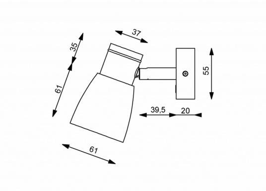 """Die hochwertige LED-Anbauleuchte R1-1 von PREBIT überzeugt mit hellem und angenehm, warmweißen Licht sowie integrierter Dimmfunktion """"Dim2Warm"""", Memoryfunktion und USB-Ladebuchse. Farbe: chrom-matt mit kreidweißem Glas. (Bild 2 von 2)"""