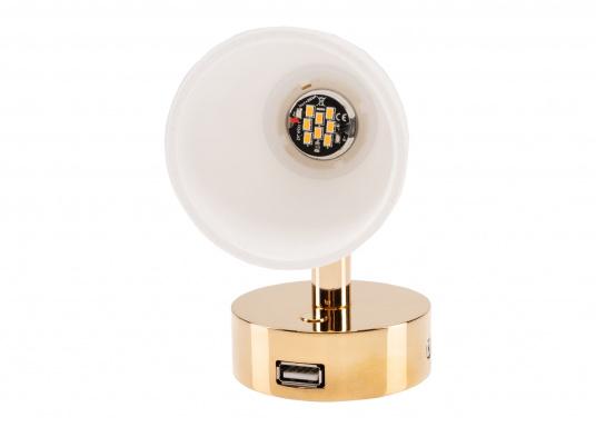 """Die hochwertige LED-Anbauleuchte R1-1 von PREBIT überzeugt mit hellem und angenehm, warmweißen Licht sowie integrierter Dimmfunktion """"Dim2Warm"""", Memoryfunktion und USB-Ladebuchse. Farbe: gold-glänzend mit kreidweißem Glas. (Bild 5 von 8)"""