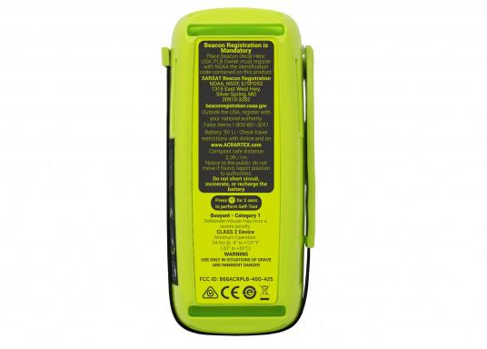 La PLB ResQLink 400 est le modèle successeur de la ResQLink+ d'ACR. Maintenant, cette PLB flottante est plus petite et plus légère qu'avant. Les boutons Test et déclenchement sont désormais séparés. Grâce à cela, l'utilisation de la balise en situation de danger est plus facile et plus claire. Les récepteurs GPS, GNSS et GALILEO augmentent la traçabilité mondiale de la ResQLink 400. (Image 4 de 6)